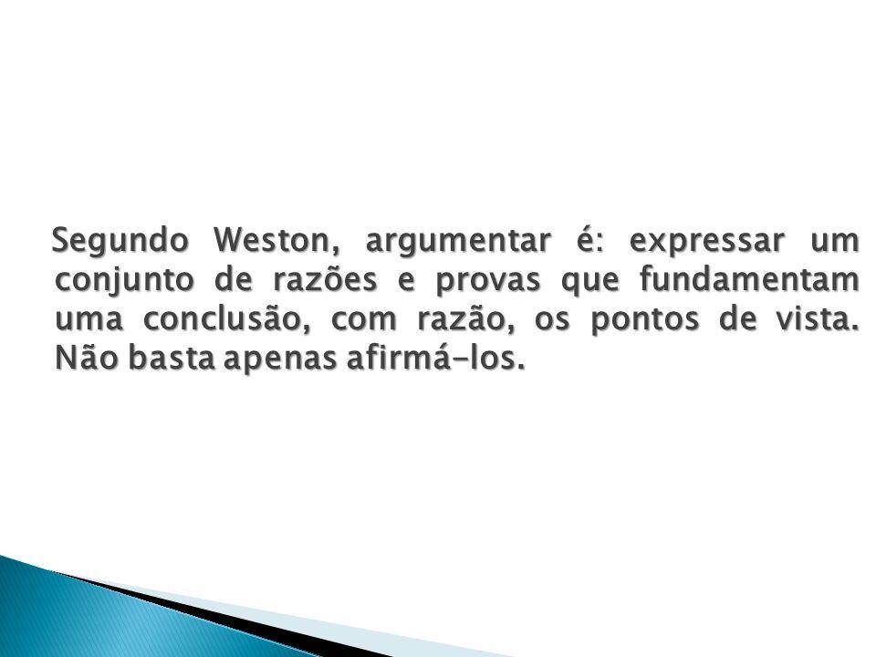 Segundo Weston, argumentar é: expressar um conjunto de razões e provas que fundamentam uma conclusão, com razão, os pontos de vista.