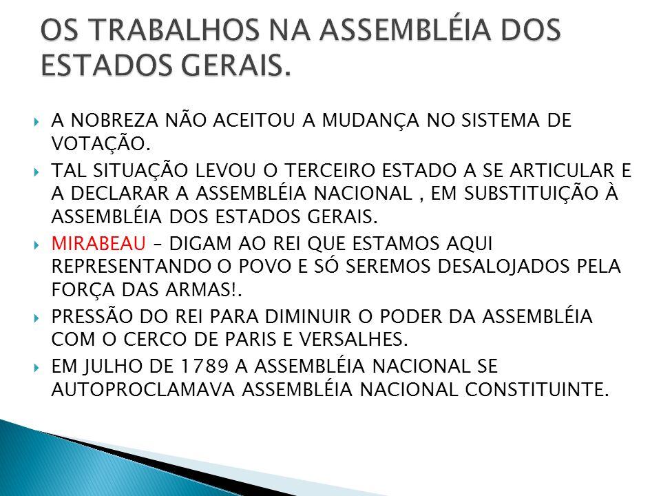 OS TRABALHOS NA ASSEMBLÉIA DOS ESTADOS GERAIS.