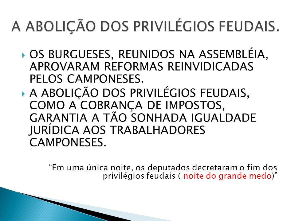 A ABOLIÇÃO DOS PRIVILÉGIOS FEUDAIS.