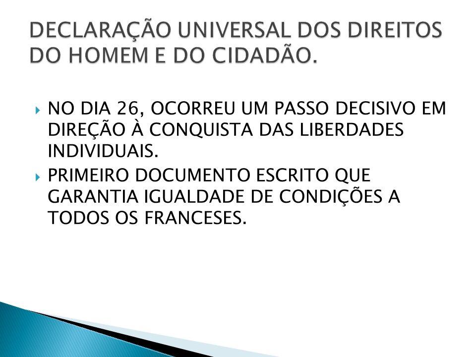 DECLARAÇÃO UNIVERSAL DOS DIREITOS DO HOMEM E DO CIDADÃO.