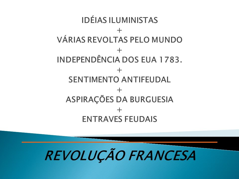 REVOLUÇÃO FRANCESA IDÉIAS ILUMINISTAS + VÁRIAS REVOLTAS PELO MUNDO