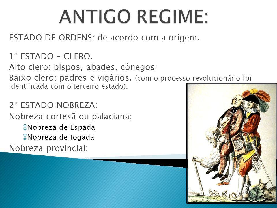 ANTIGO REGIME: ESTADO DE ORDENS: de acordo com a origem.