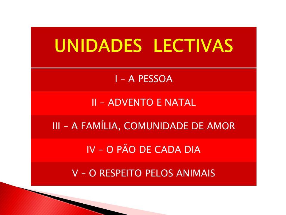 UNIDADES LECTIVAS I – A PESSOA II – ADVENTO E NATAL