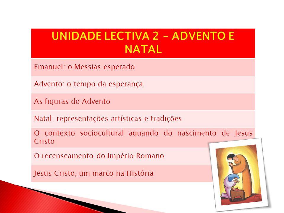 UNIDADE LECTIVA 2 – ADVENTO E NATAL