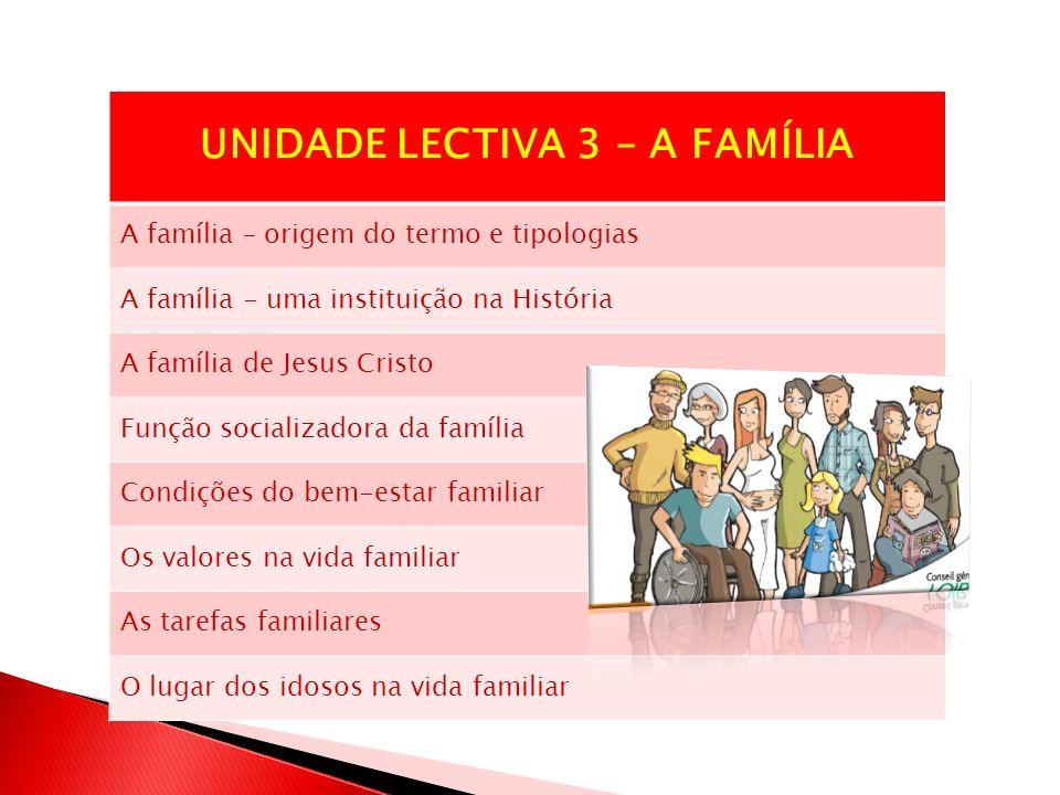 UNIDADE LECTIVA 3 – A FAMÍLIA