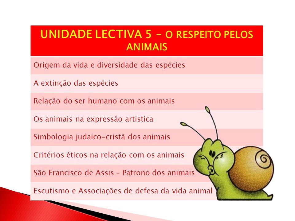 UNIDADE LECTIVA 5 – O RESPEITO PELOS ANIMAIS
