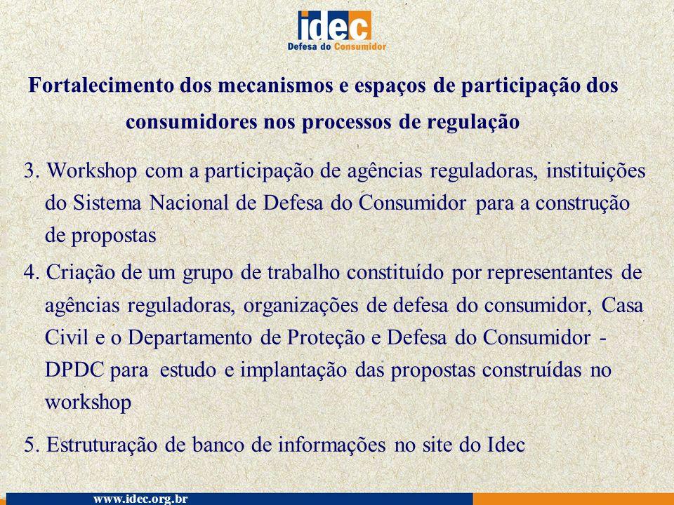 5. Estruturação de banco de informações no site do Idec