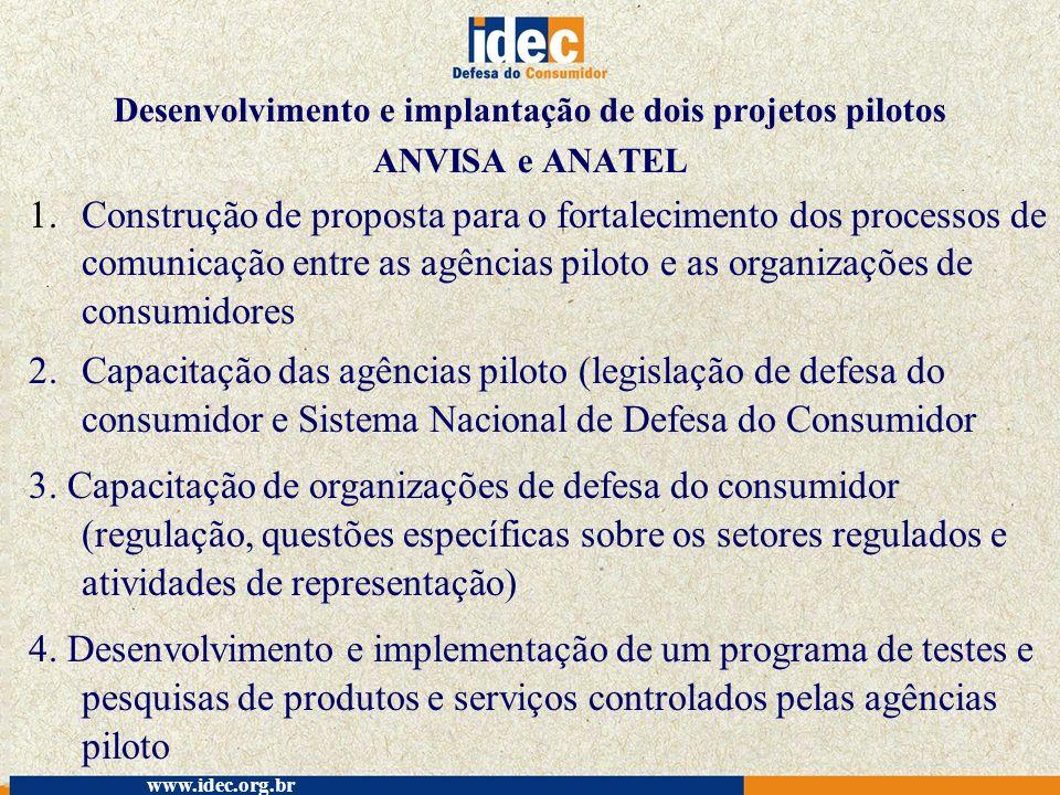Desenvolvimento e implantação de dois projetos pilotos ANVISA e ANATEL