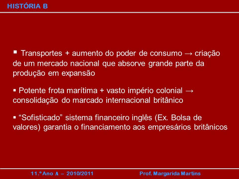 HISTÓRIA B Transportes + aumento do poder de consumo → criação de um mercado nacional que absorve grande parte da produção em expansão.