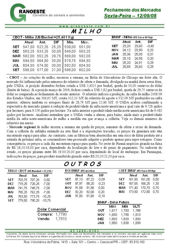 M I L H O O U T R O S Sexta-Feira – 12/09/08 Fechamento dos Mercados