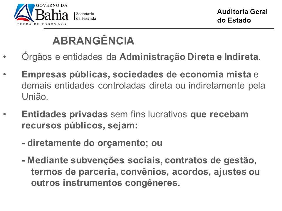 ABRANGÊNCIA Órgãos e entidades da Administração Direta e Indireta.