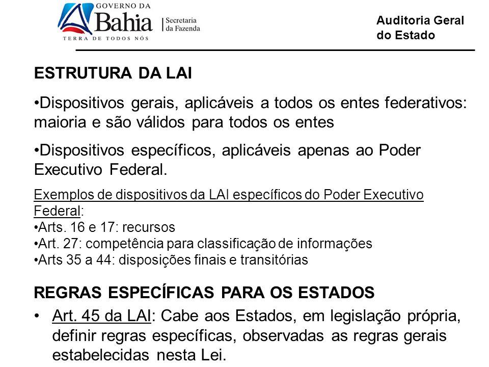REGRAS ESPECÍFICAS PARA OS ESTADOS