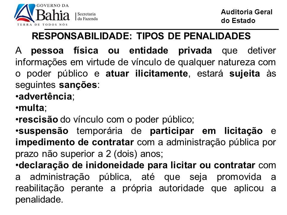 RESPONSABILIDADE: TIPOS DE PENALIDADES