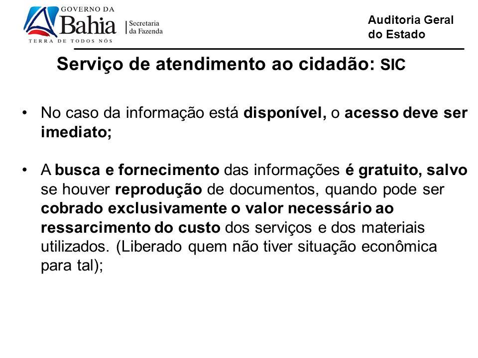 Serviço de atendimento ao cidadão: SIC