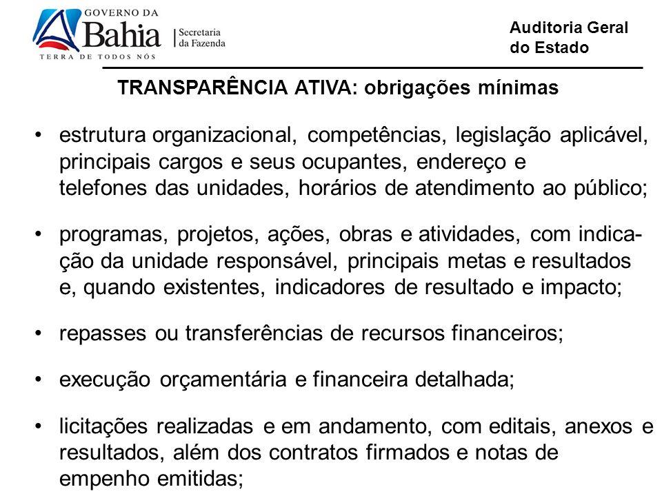 TRANSPARÊNCIA ATIVA: obrigações mínimas