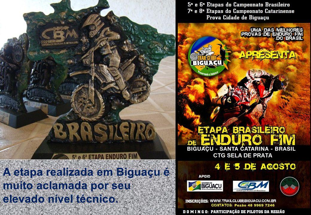 A etapa realizada em Biguaçu é muito aclamada por seu elevado nível técnico.