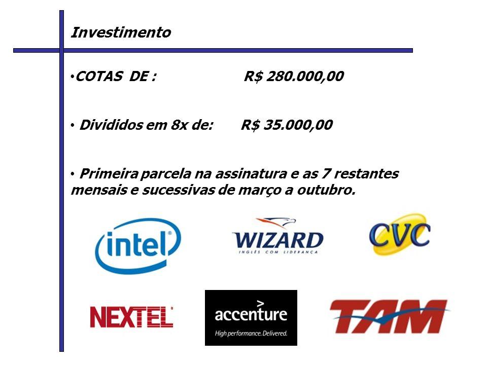 Investimento COTAS DE : R$ 280.000,00 Divididos em 8x de: R$ 35.000,00