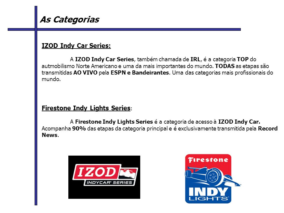 As Categorias IZOD Indy Car Series: Firestone Indy Lights Series: