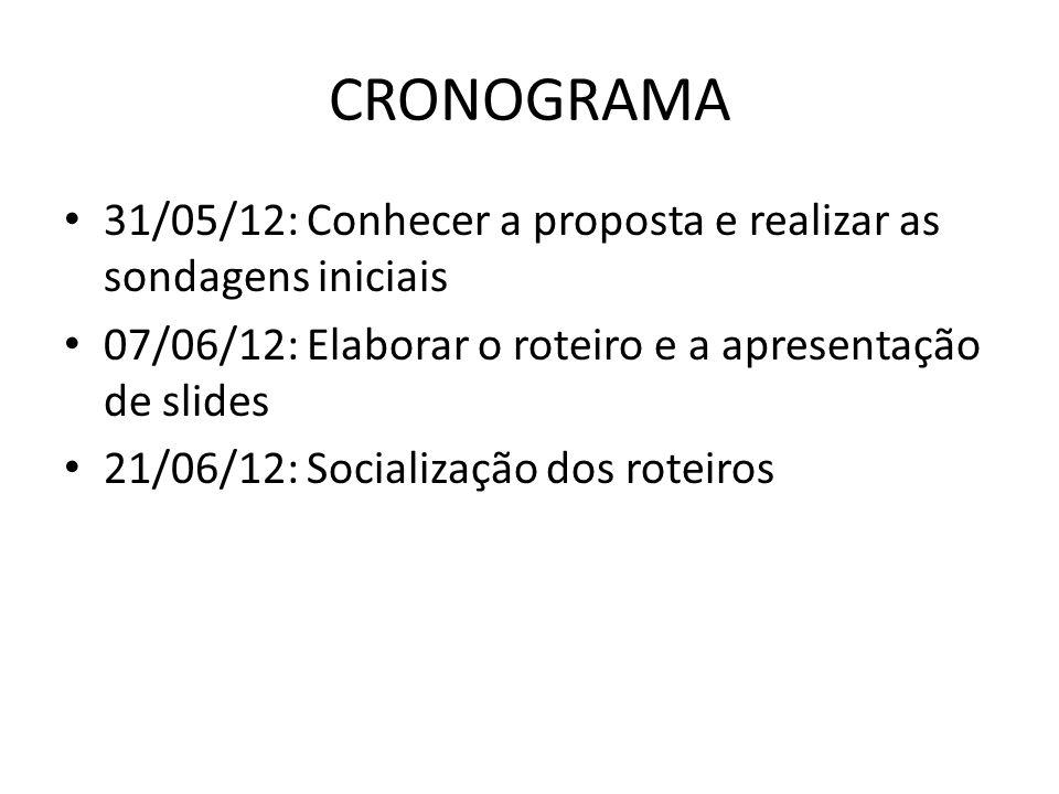 CRONOGRAMA 31/05/12: Conhecer a proposta e realizar as sondagens iniciais. 07/06/12: Elaborar o roteiro e a apresentação de slides.