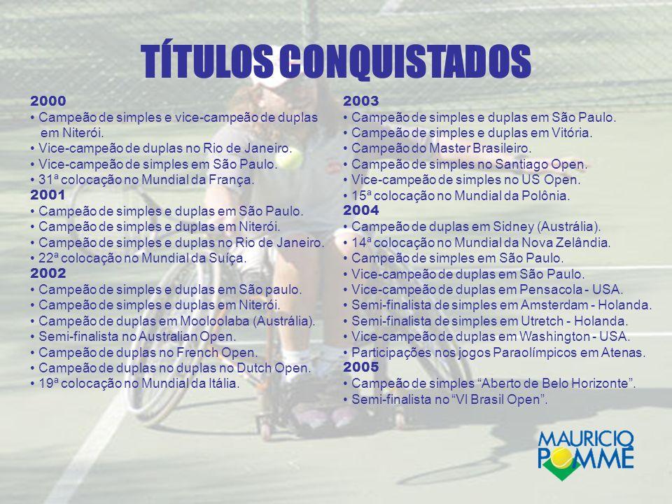 TÍTULOS CONQUISTADOS 2000. • Campeão de simples e vice-campeão de duplas. em Niterói. • Vice-campeão de duplas no Rio de Janeiro.