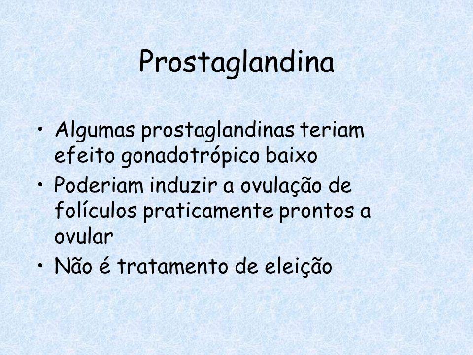 Prostaglandina Algumas prostaglandinas teriam efeito gonadotrópico baixo. Poderiam induzir a ovulação de folículos praticamente prontos a ovular.