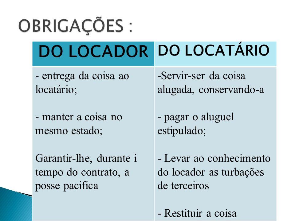 OBRIGAÇÕES : DO LOCADOR DO LOCATÁRIO - entrega da coisa ao locatário;