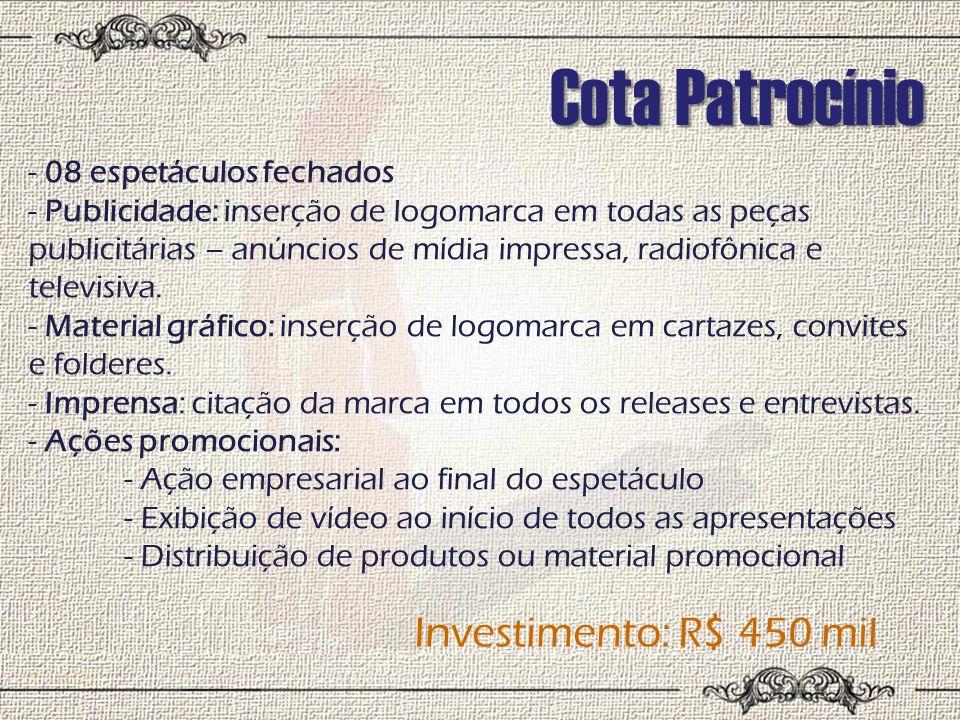 Cota Patrocínio Investimento: R$ 450 mil 08 espetáculos fechados