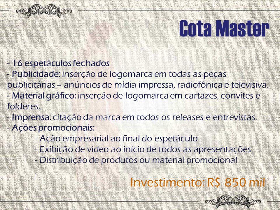 Cota Master Investimento: R$ 850 mil 16 espetáculos fechados
