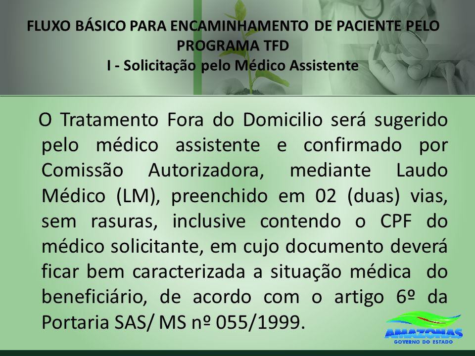 FLUXO BÁSICO PARA ENCAMINHAMENTO DE PACIENTE PELO PROGRAMA TFD I - Solicitação pelo Médico Assistente