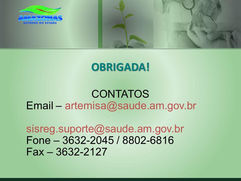 OBRIGADA! CONTATOS Email – artemisa@saude.am.gov.br