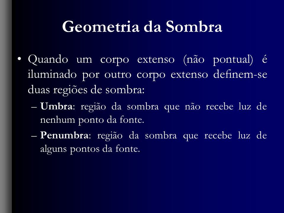 Geometria da Sombra Quando um corpo extenso (não pontual) é iluminado por outro corpo extenso definem-se duas regiões de sombra: