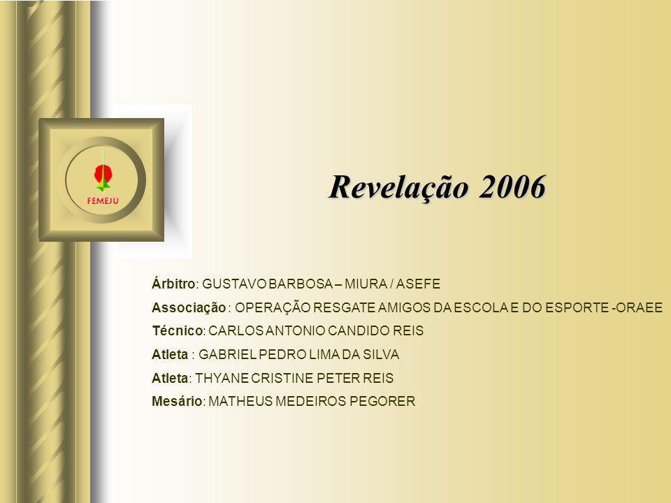 Revelação 2006 Árbitro: GUSTAVO BARBOSA – MIURA / ASEFE