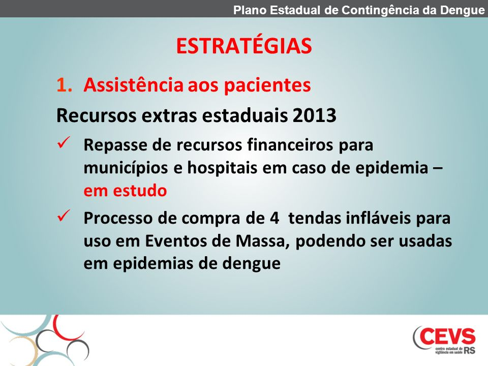 ESTRATÉGIAS Assistência aos pacientes Recursos extras estaduais 2013