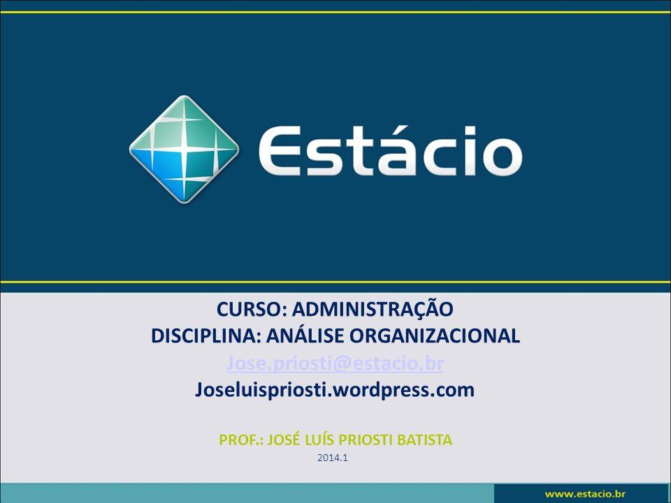 DISCIPLINA: ANÁLISE ORGANIZACIONAL PROF.: JOSÉ LUÍS PRIOSTI BATISTA
