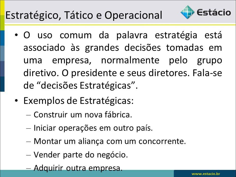Estratégico, Tático e Operacional