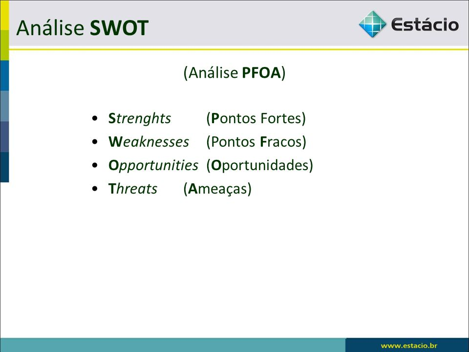 Análise SWOT (Análise PFOA) Strenghts (Pontos Fortes)