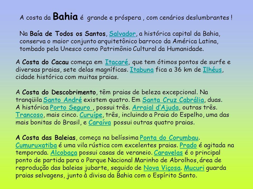 A costa da Bahia é grande e próspera , com cenários deslumbrantes !
