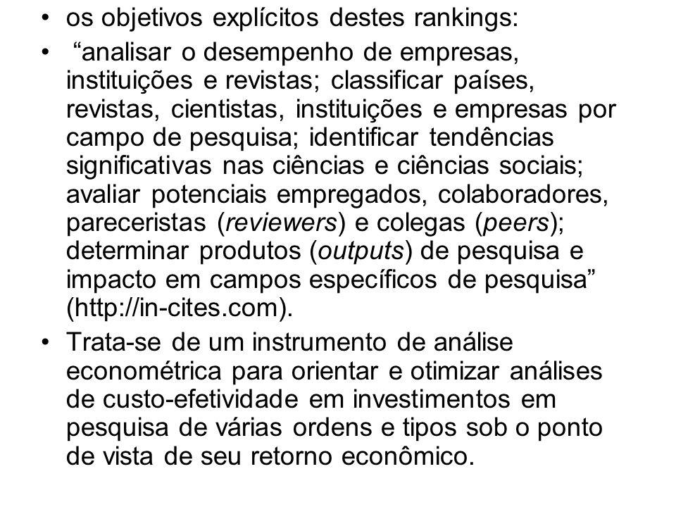 os objetivos explícitos destes rankings: