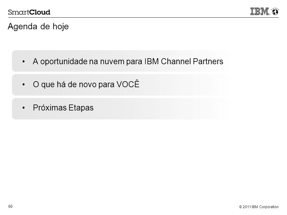 Agenda de hoje A oportunidade na nuvem para IBM Channel Partners