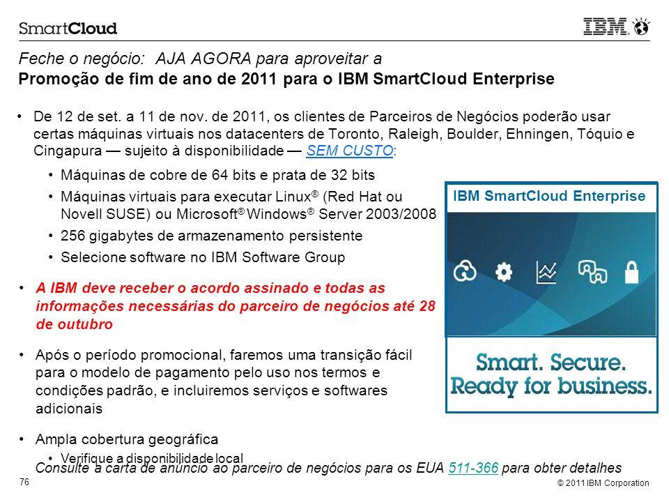 Feche o negócio: AJA AGORA para aproveitar a Promoção de fim de ano de 2011 para o IBM SmartCloud Enterprise