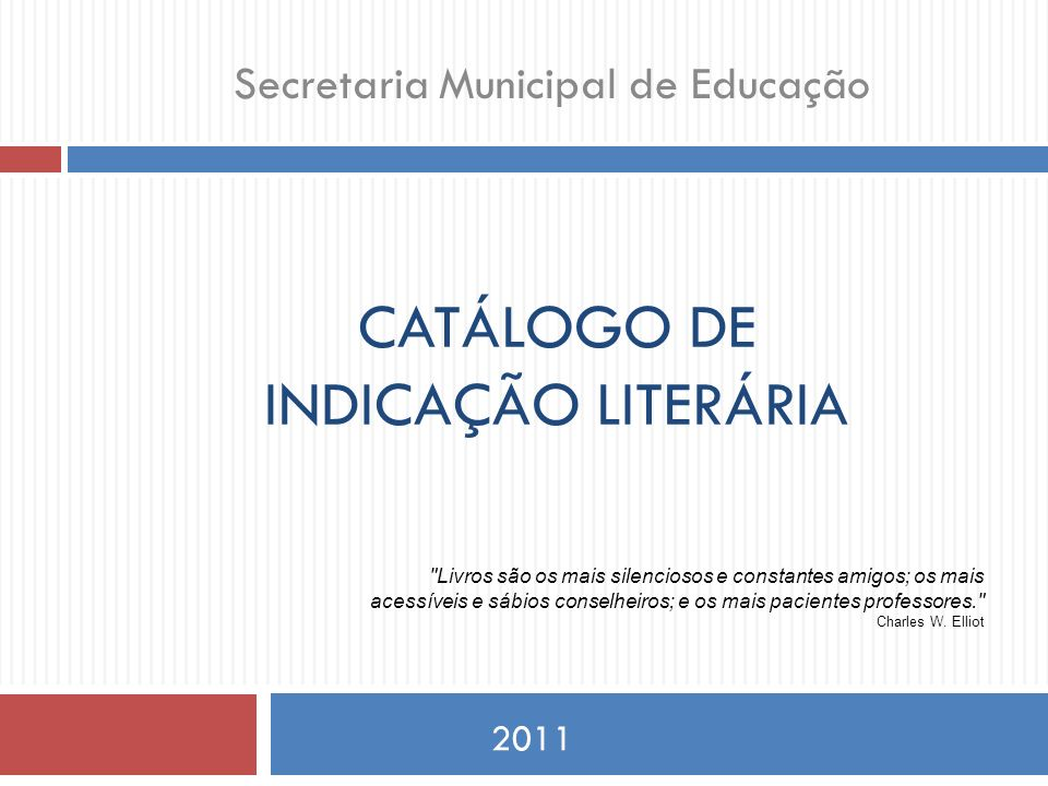 CATÁLOGO DE INDICAÇÃO LITERÁRIA