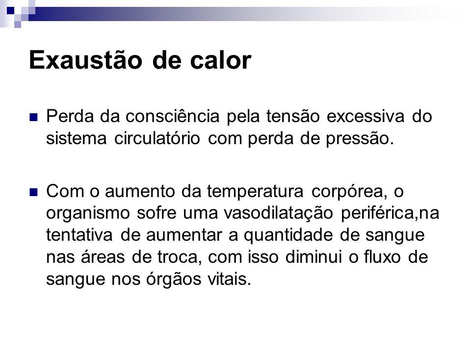 Exaustão de calor Perda da consciência pela tensão excessiva do sistema circulatório com perda de pressão.