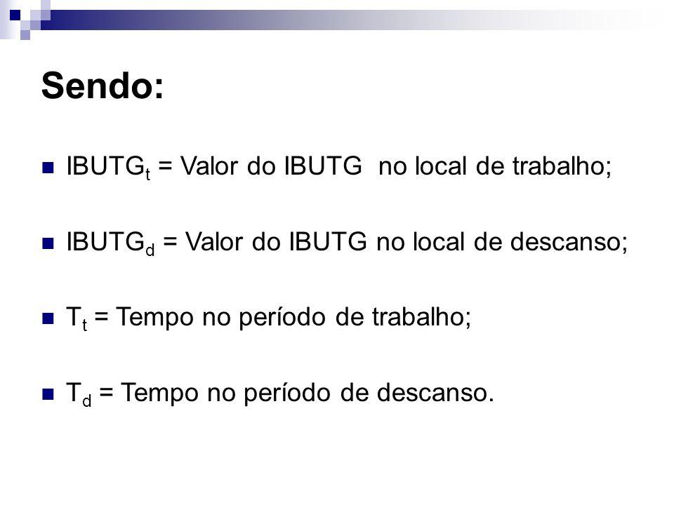 Sendo: IBUTGt = Valor do IBUTG no local de trabalho;