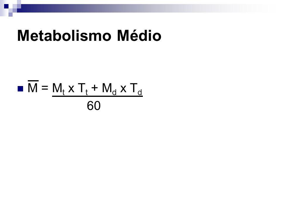 Metabolismo Médio M = Mt x Tt + Md x Td 60