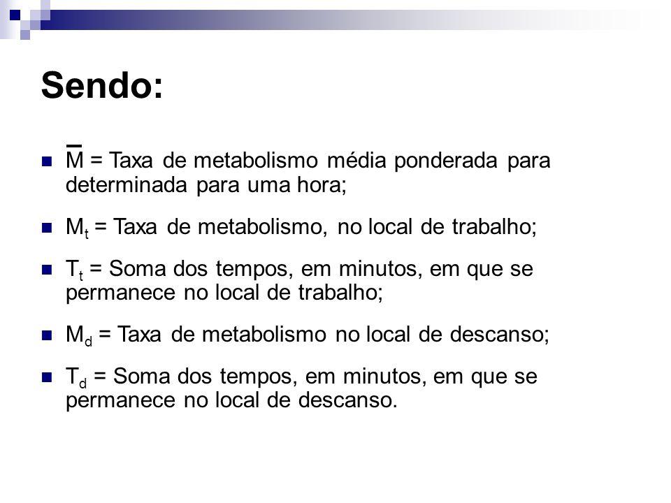 Sendo: M = Taxa de metabolismo média ponderada para determinada para uma hora; Mt = Taxa de metabolismo, no local de trabalho;