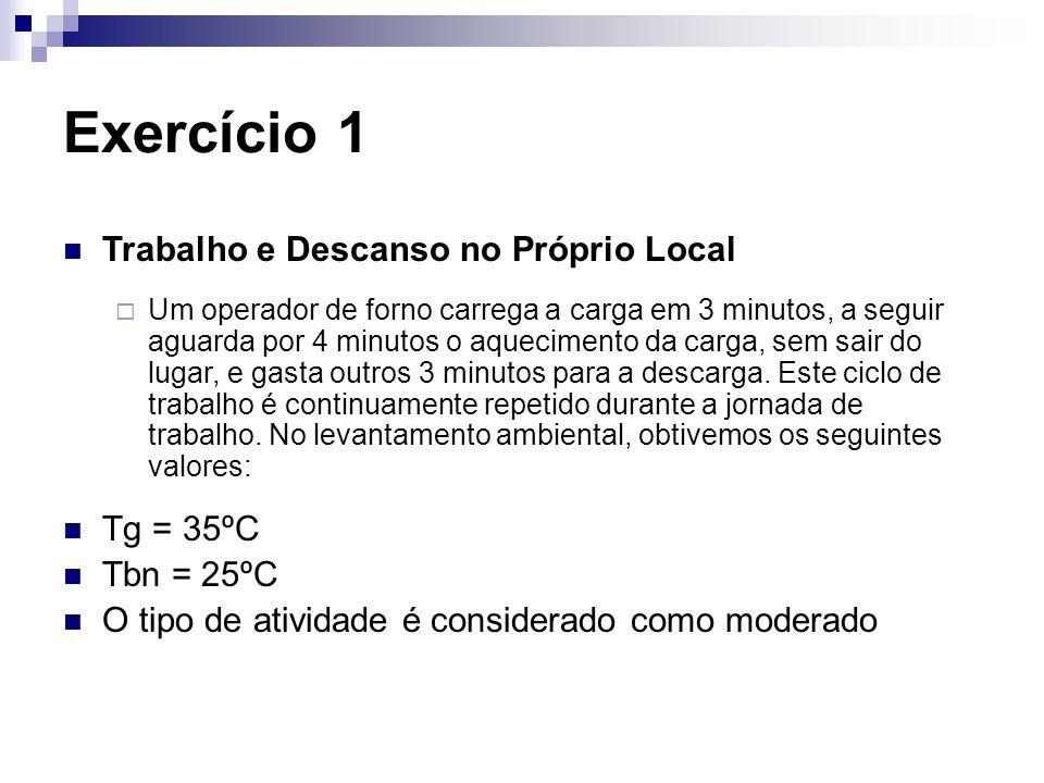 Exercício 1 Trabalho e Descanso no Próprio Local Tg = 35ºC Tbn = 25ºC
