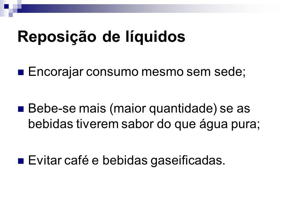 Reposição de líquidos Encorajar consumo mesmo sem sede;