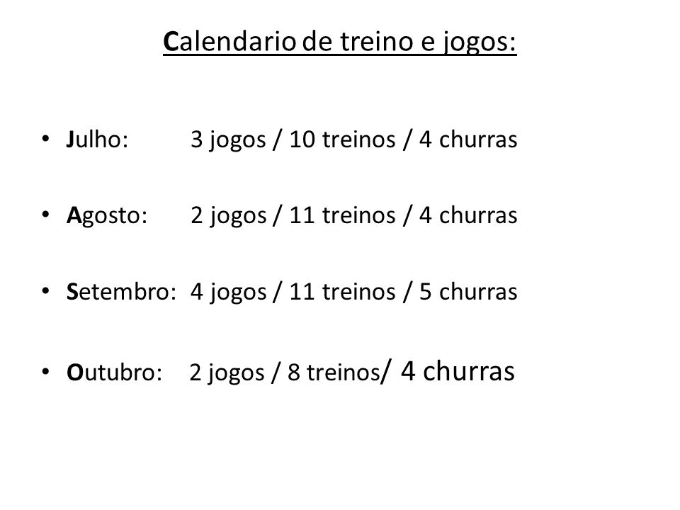 Calendario de treino e jogos:
