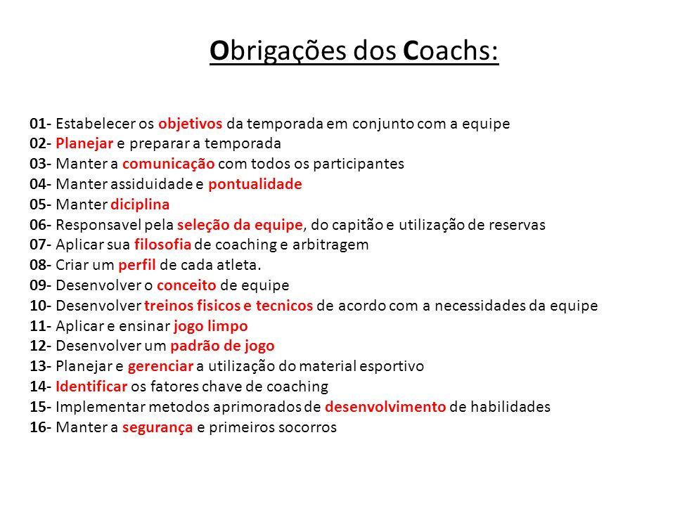 Obrigações dos Coachs: