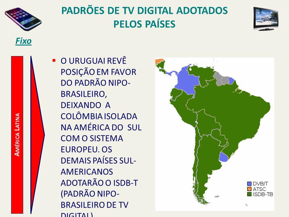 PADRÕES DE TV DIGITAL ADOTADOS PELOS PAÍSES
